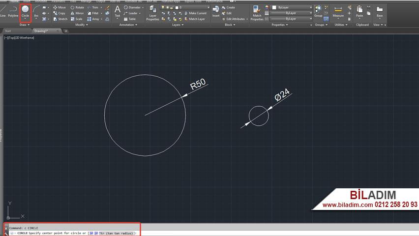 Autocad programında circle çember komutu anlatımı