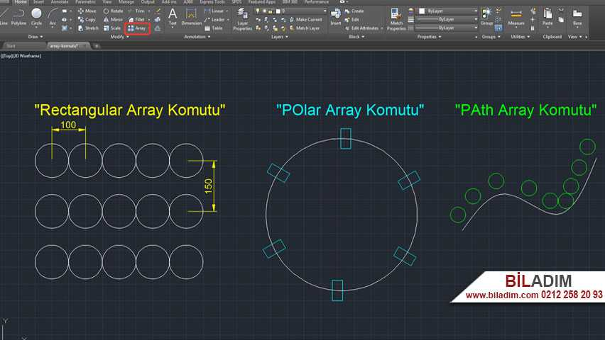 autocad-array-komutu